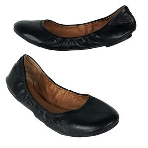 LUCKY BRAND Emmie 8/38 M Black Leather Ballet Flat